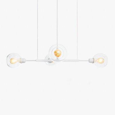 Lustre Golden Art Quattro P Branco com Cúpula de Vidro