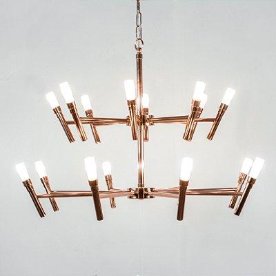Pendente Montana 16 Braços Banho de Cobre (1) - Plafon Redondo Onix Usina 55cm (3)  - Lâmpadas