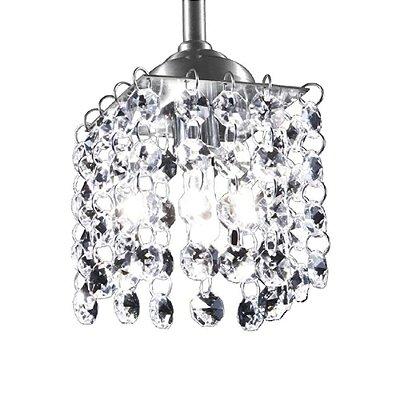 Pendente Quadrado Vertical Polido Cristal Asfour Translúcido 12x12cm G9 Halopin Munclair 4402-1 Quartos e Salas