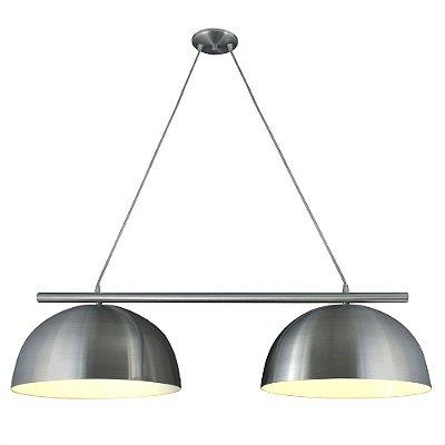 Pendente Trilho 1/2 Esfera Redondo Alumínio Lixado Bivolt 1,20m E-27 Eletrônica Munclair 4502-2 Cozinhas e Salas