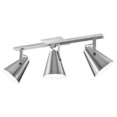 Spot Trilho Mix Metal 03 Cúpulas Cônicas Alumínio Polido Bivolt 70cm E-27 Eletrônica Munclair 0494-3 Quartos e Salas