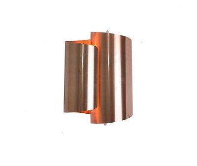 Arandela Dupla Calandra Ondulada Alumínio Cobre Bivolt 21x30cm G9 Halopin Munclair 2337 Corredores e Salas