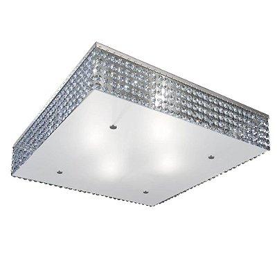 Plafon Quadrado Vidro Temperado 4mm Cristal Asfour Translúcido Bivolt 60x60cm E-27 Eletrônica Munclair 3284 Quartos e Salas