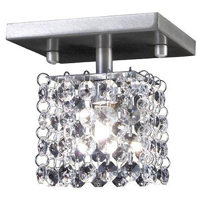 Mini Plafon Quadrado Canopla Cristal Asfour Bivolt 12x12cm G9 Halopin Munclair 3286-1 Banheiros e Corredores
