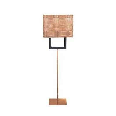 Abajur Coluna Quadro Rústico Madeira Fibra de Vidro Bivolt 1,45m E-27 Eletrônica Munclair 9587FB Escritórios e Quartos