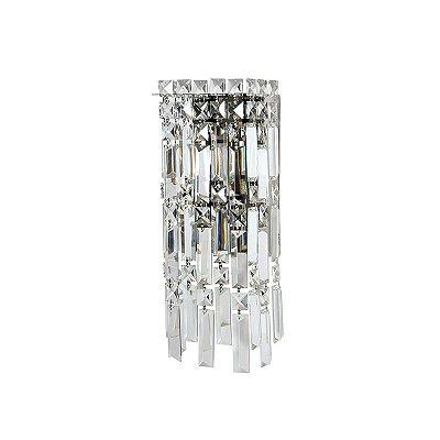 Arandela Retangular Cristal Lapidado Translúcido Bivolt 15x38cm G9 Halopin Stella SD2910 Corredores e Salas