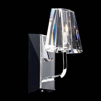 Arandela Cúpula Cristal Lapidado Transparente Acabamento Cromado 220V 10x17cm G4 Bi pino Stella SD2302 Quartos e Salas