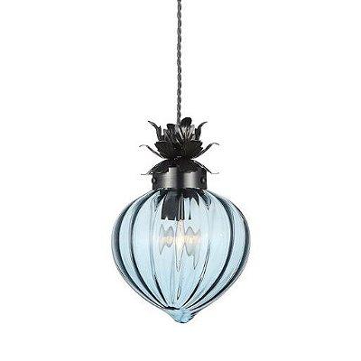Pendente Bosco Decorativo Vidro Azul Translúcido Bivolt Ø18cm Vela Lisa Stella SD8368 Cozinhas e Salasl