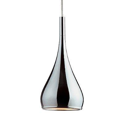 Pendente Vertical Metal Cromado Espelhado Decorativo Bivolt Ø16cm Mini Bulbo Stella SD8501 Cozinhas e Salas