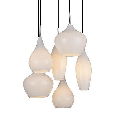 Pendente Moderno Decorativo 6 Luzes Vidro Duplo Branco Artesanal Bivolt Ø42cm Led Stella SD8305 Entradas e Salas