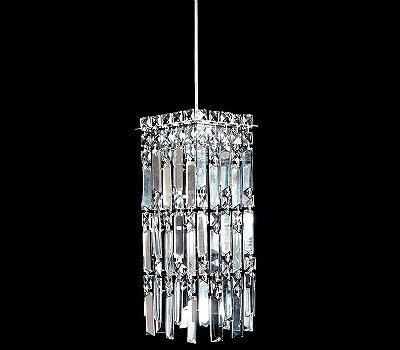 Pendente Vertical Base Quadrada Cristal Translúcido Bivolt 15x15cm G9 Halopin Stella SD8910 Entradas e Salas