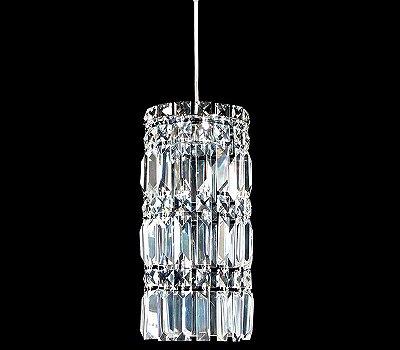 Pendente Vertical Base Redonda Cristal Transparente Bivolt Ø15cm G9 Halopin Stella SD8810 Corredores e Salas