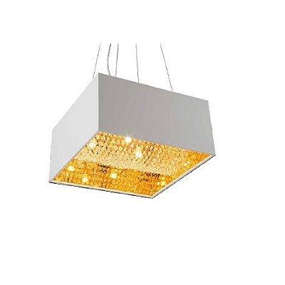 Pendente Plafon Áquila Branco Quadrado Acabamento Dourado Acrílico 60x60cm G9 Halopin Stella SD8795 Entradas e Salas