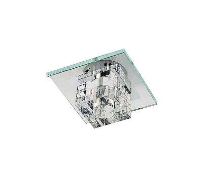 Spot Quadrado Cristal Translúcido Lapidado Vidro Transparente Bivolt 9x9cm G9 Halopin Stella SD7500 Escritórios e Quartos