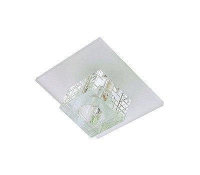 Spot Dagda Quadrado Cristal Translúcido e Vidro Branco Fosco Bivolt 9x6cm G9 Halopin Stella SD7520 Quartos e Salas