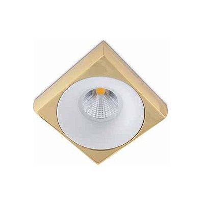 Spot Semi-embutido Locana Metal Dourado com Branco Bivolt 10x10cm GU10 Dicróica Stella SD4701Q Quartos e Salas