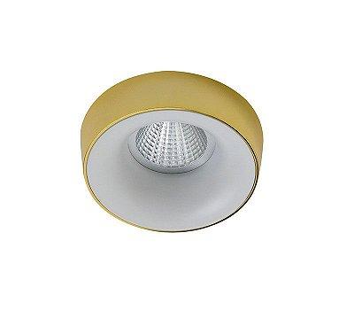 Spot Semi-embutido Locana Redondo Dourado com Branco Bivolt Ø10cm GU10 Dicróica Stella SD4701R Escritórios e Salas