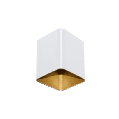 Spot Semi-embutido Tubo Quadrado Frank Zinco Branco com Dourado Bivolt 8x10cm GU10 Dicróica Stella SD5009 Quartos e Salas