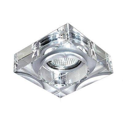 Spot Semi-embutido Cristal Translúcido Quadrado Bivolt 10x10cm GU10 Dicróica Stella SD4000Q Escritórios e Salas