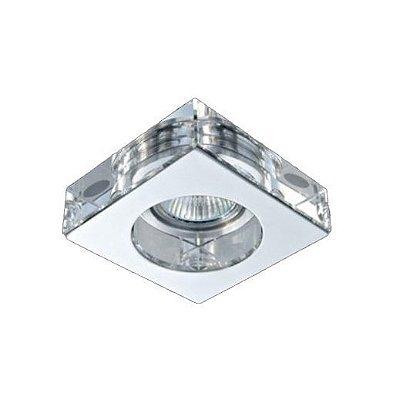 Spot Semi-embutido Cristal Translúcido Metal Cromado Bivolt 10x10cm GU10 Dicróica Stella SD4001Q Escritórios e Salas