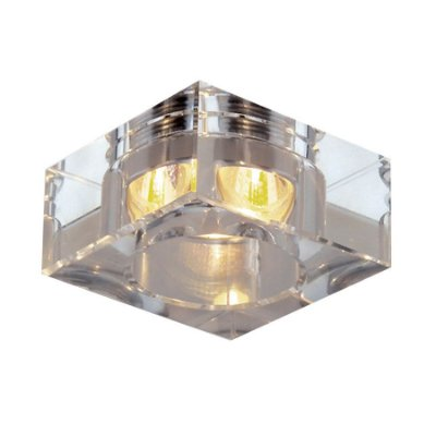 Spot Semi-embutido Cristal Translúcido Quadrado Bivolt Led 6x6cm GU10 Mini Dicróica Stella SD4002Q Quartos e Salas