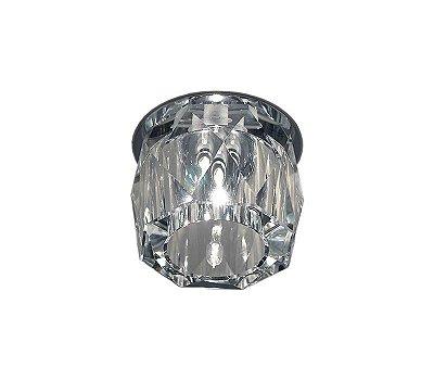 Spot Semi-embutido Redondo Cristal Transparente Lapidado Bivolt Ø8cm G9 Bi-pino Stella SD4011 Quartos e Salas