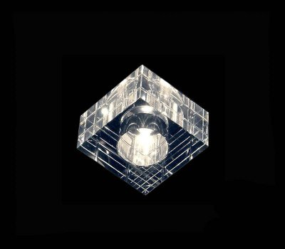 Spot Semi-embutido Redondo Cristal Transparente Lapidado Bivolt Led 8x8cm G9 Bi-pino Stella SD4020 Escritórios e Salas