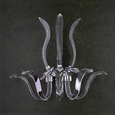 Arandela Cristal Napoli Metal Cromado Moderno Cristal 42x40cm Mantra 3 G9 Halopin 30459 Halls e Corredores