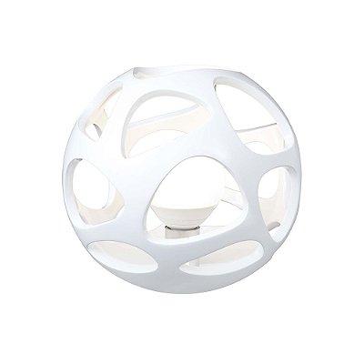 Abajur Luminária de Mesa Esfera Polimero Branco 25x27cm Mantra 1 E27 20W Bivolt 5147 Mesas e Quartos