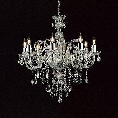 Lustre Candelabro Tiana Metal Cristal Transparente 8 Braços 85x73cm Mantra 8 E27 40W Bivolt 2656 Entradas e Hall