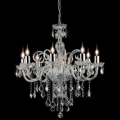 Lustre Tiana Candelabro Metal Cristal Transparente 12 Braços 74x100cm Mantra 12 E27 40W Bivolt 2778 Entradas e Hall