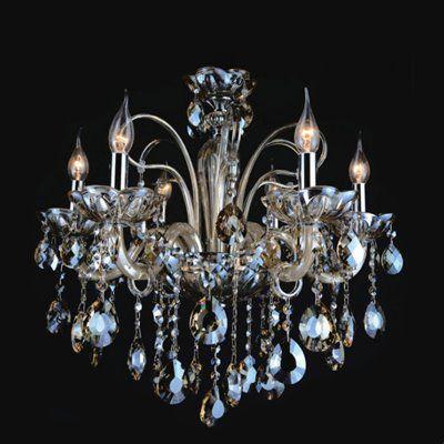 Lustre Candelabro Maria Tereza Apolo Cristal Conhaque Metal 56x62cm Mantra 6 E14 40W Bivolt 30169 Entradas e Salas