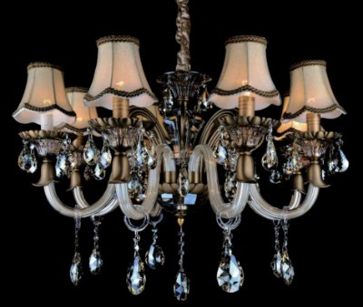 Lustre Candelabro Maria Tereza Ragnarok Ouro Velho Cupula 48x72cm Mantra 8 E14 40W 30172 Salas e Hall