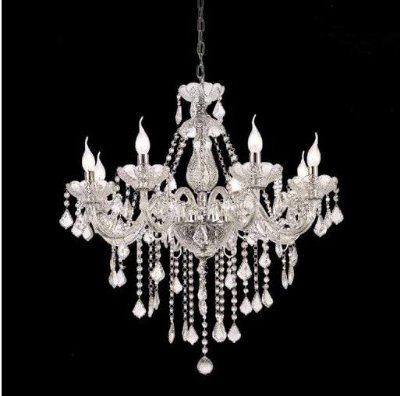 Lustre Candelabro Maly Cristal Transparente 8 Braços 94x70cm Mantra 8 E14 40W Bivolt 30420 Entradas e Salas