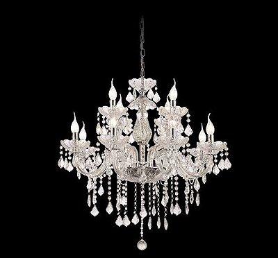 Lustre Candelabro Maly Cristal Transparente 12 Braços 94x70cm Mantra 12 E14 40W Bivolt 30421 Entradas e Salas