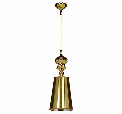 Lustre Pendente Vertical Claire Metal Dourado Cupula 55x20cm Mantra 1 E27 40W Bivolt 2339 Cozinhas e Salas