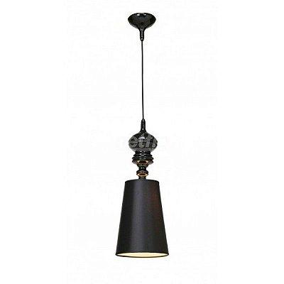 Lustre Pendente Vertical Claire Metal Preto Cupula 55x20cm Mantra 1 E27 40W Bivolt 2340 Cozinhas e Salas