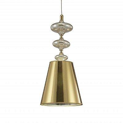 Lustre Pendente Vertical Calicce Dourado Cupula 66,5x25cm Mantra 1 E27 40W Bivolt 2625 Cozinhas e Salas