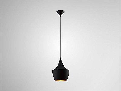 Pendente Tango Vertical Redondo Alumínio Preto 41x24cm Mantra 1 E27 40W Bivolt 2837 Cozinhas e Salas