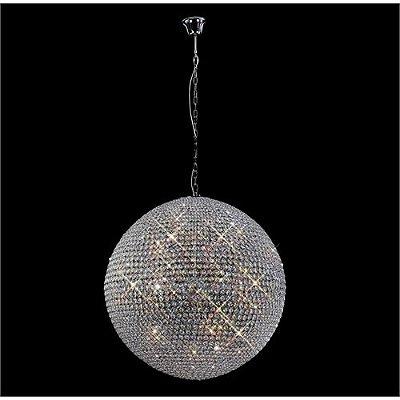 Pendente Ava Vertical Esfera Cromado Cristal 45x45cm Mantra 7 G9 Halopin 40W Bivolt 30023 Salas e Hall