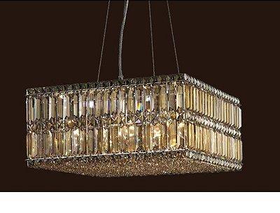 Pendente Mesi Cristal Lapidado Conhaque Quadrado 25x52cm Mantra 12 E14 40W Bivolt 30087 Hall e Salas