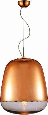 Pendente Zorah Vertical Metal Vidro Bronze 31x20cm Mantra 1 E27 40W Bivolt 30255 Salas e Quartos