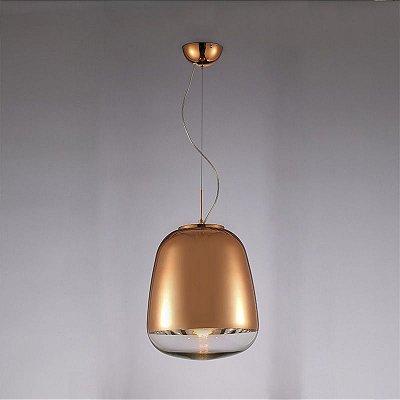 Pendente Zorah Vertical Metal Vidro Bronze 70x45cm Mantra 1 E27 40W Bivolt 30257 Salas e Quartos