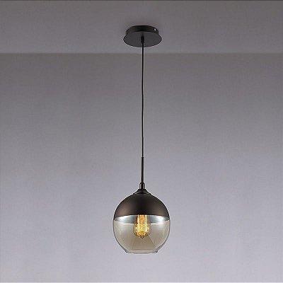 Pendente Peratto Vertical Esfera Preto Vidro Conhaque 37x20cm Mantra 1 E27 40W Bivolt 30261 Salas e Cozinhas