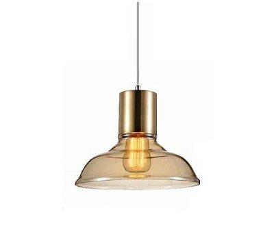 Pendente Shantal Vertical Metal Cupula Vidro Conhaque 26x28cm Mantra 1 E27 40W Bivolt 30367 Quartos e Salas