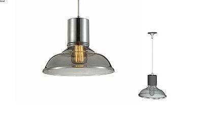 Pendente Shantal Vertical Metal Cupula Vidro Smoke 26x28cm Mantra 1 E27 40W Bivolt 30368 Quartos e Salas