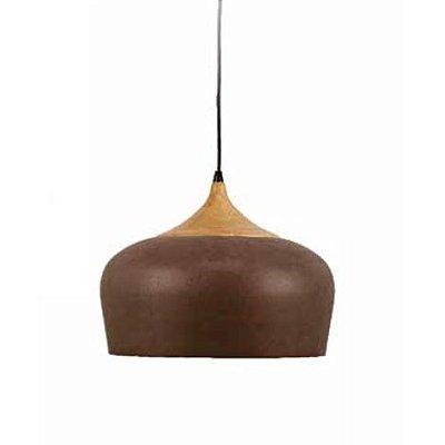 Pendente Karin Vertical Madeira Natural Metal Envelhecido 26x34cm Mantra 1 E27 40W Bivolt 30406 Cozinhas e Salas