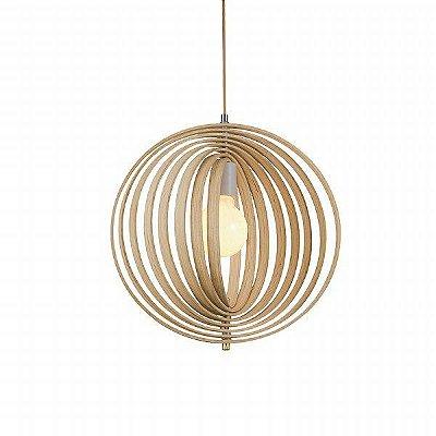Pendente Raja Vertical Esfera Madeira Natural 52x50cm Mantra 1 E27 40W Bivolt 30413 Salas e Cozinhas
