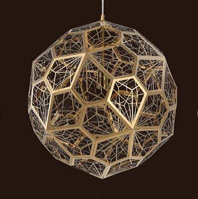 Pendente Balor Aramado Esfera Dourado 48x48cm Mantra 6 G9 Halopin 40W Bivolt 30429 Entradas e Salas
