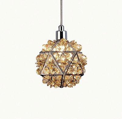 Pendente Zayn Metal Cromado Cristal Conhaque 10x10 Mantra 1 G9 Halopin 40W Bivolt 30431 Entradas e Salas